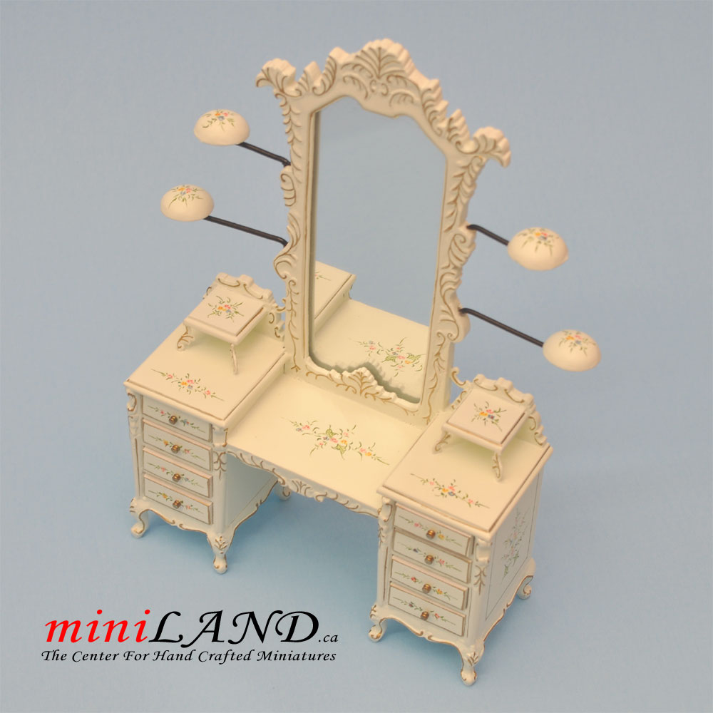 Dollhouse Miniature 1:144 Scale White Dresser with Mirror Hand Painted Metal