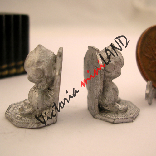 2 Dollhouse Miniature Unfinished metal Rubber Stamp