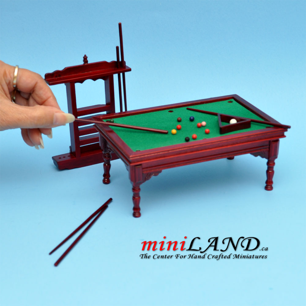 Wooden Billiards Pool Table With Pool Cues Set Dollhouse