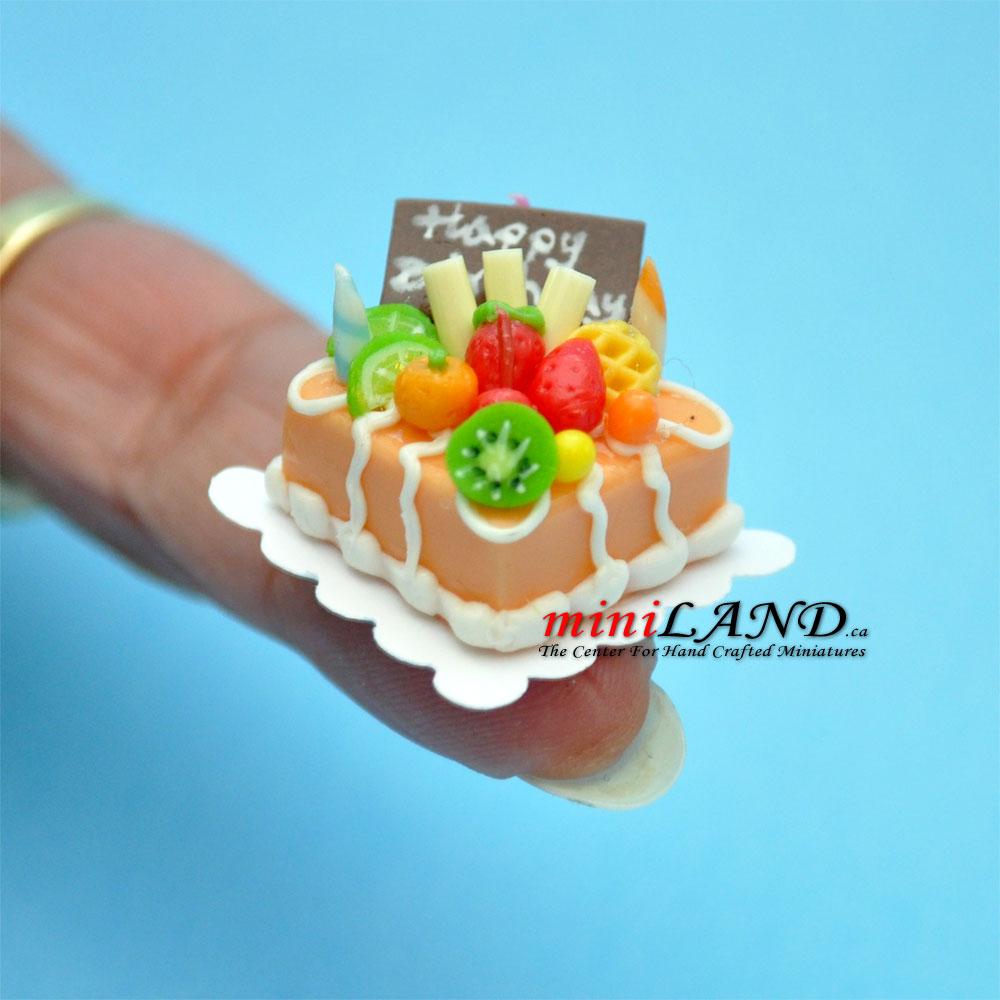 Happy Birthday Cake Dollhouse Miniatures 1 12 A01