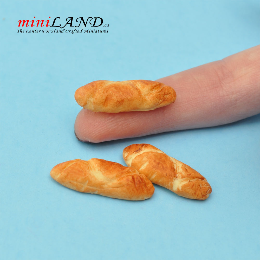 Dolls House Food Bread Miniature Miniatures 1.12 Scale Pair Of Baguettes