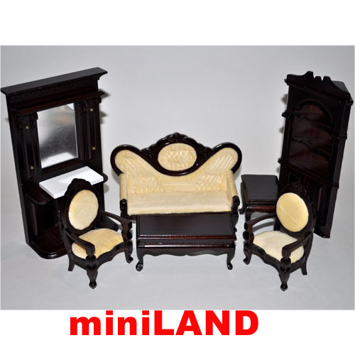 cool 12 scale dollhouse living room set | Economy Set 7pcs living room set 1:12 scale dollhouses ...