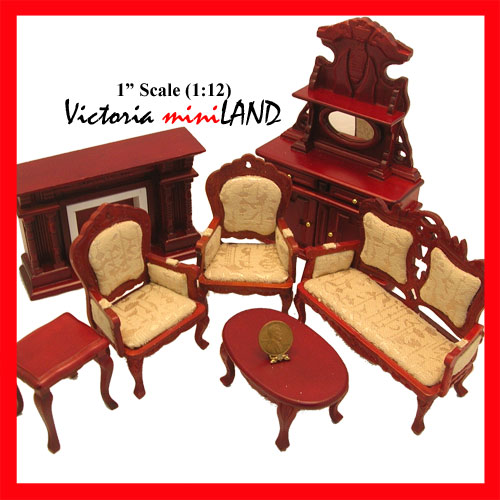 cool 12 scale dollhouse living room set | Economy Set 7pcs Victorian living room set 1:12 scale ...