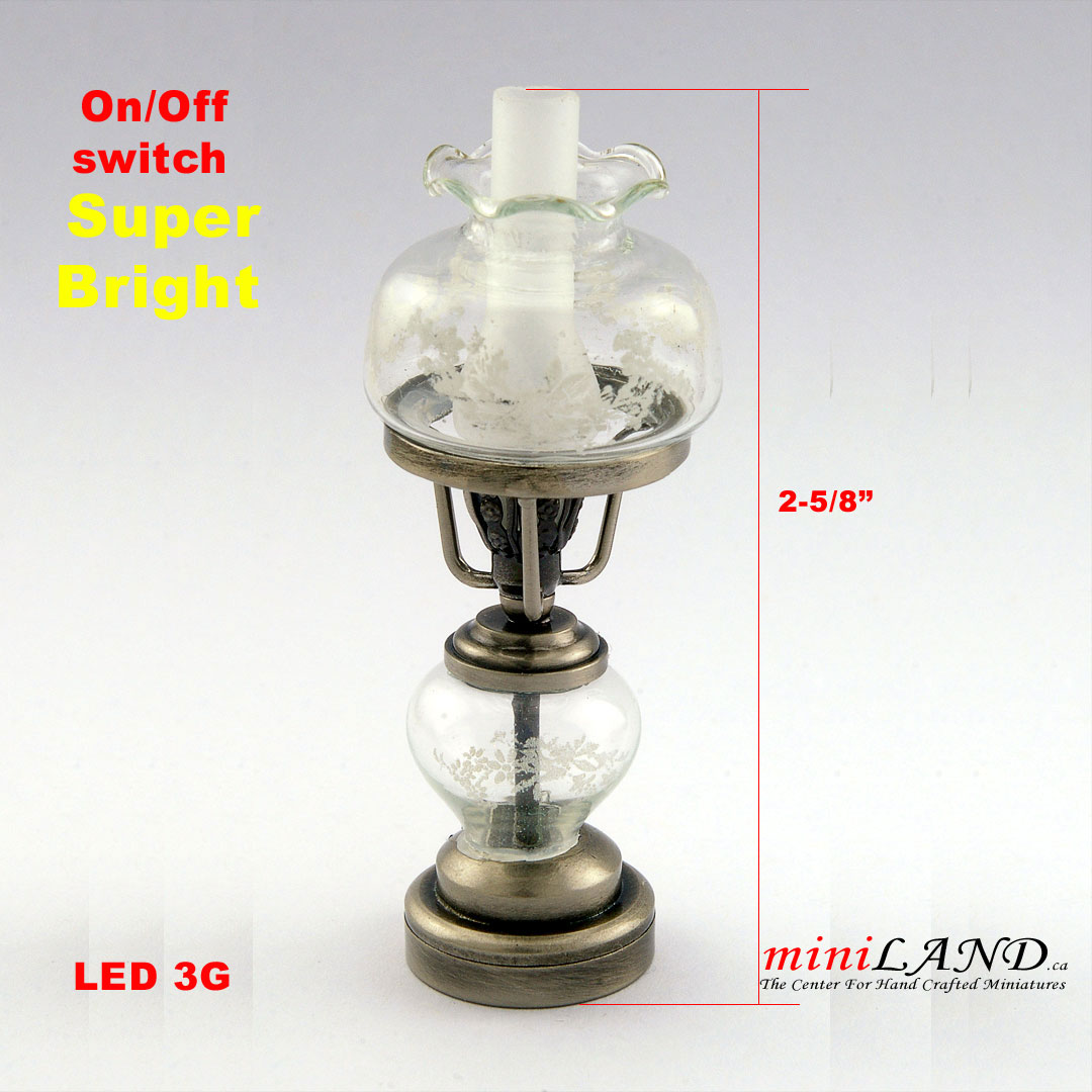 Antique Silver Color Oil Lamp Light Battery Operated On