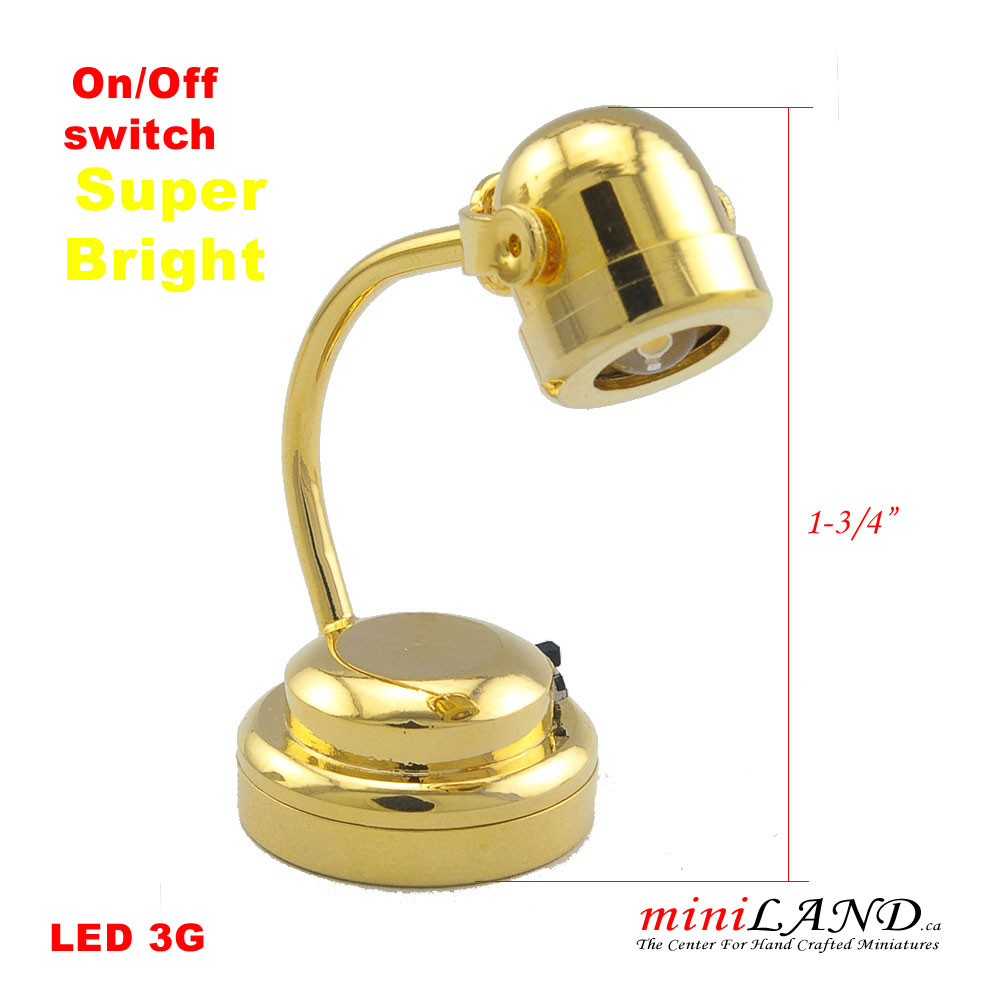 Brass Table Desk Spot Light Lamp Battery Operated On Off Switch For 1 12 Dollhouse Miniature