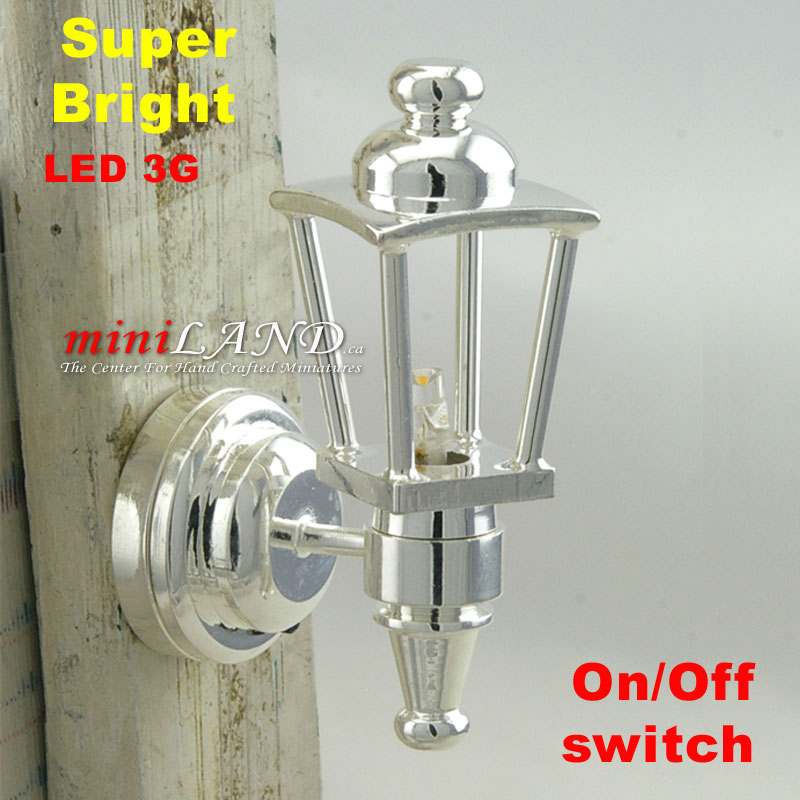 Silver Carriage Sconce bright LED LAMP Dollhouse miniature light on//off battery