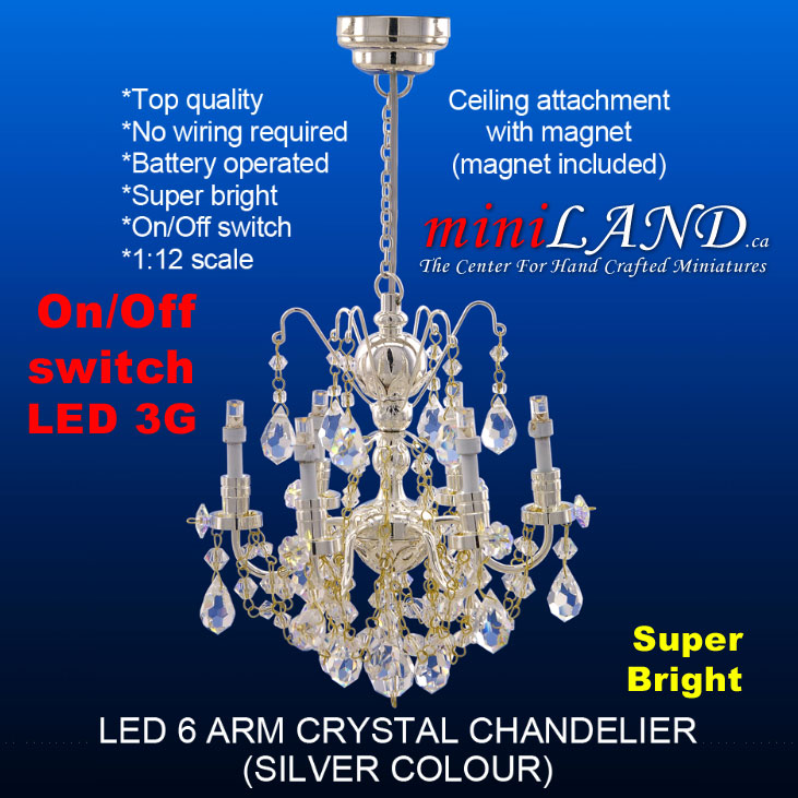 SILVER Crystal Chandeliers Arms Lamp LED Super Bright With Onoff - Chandelier crystals with magnets