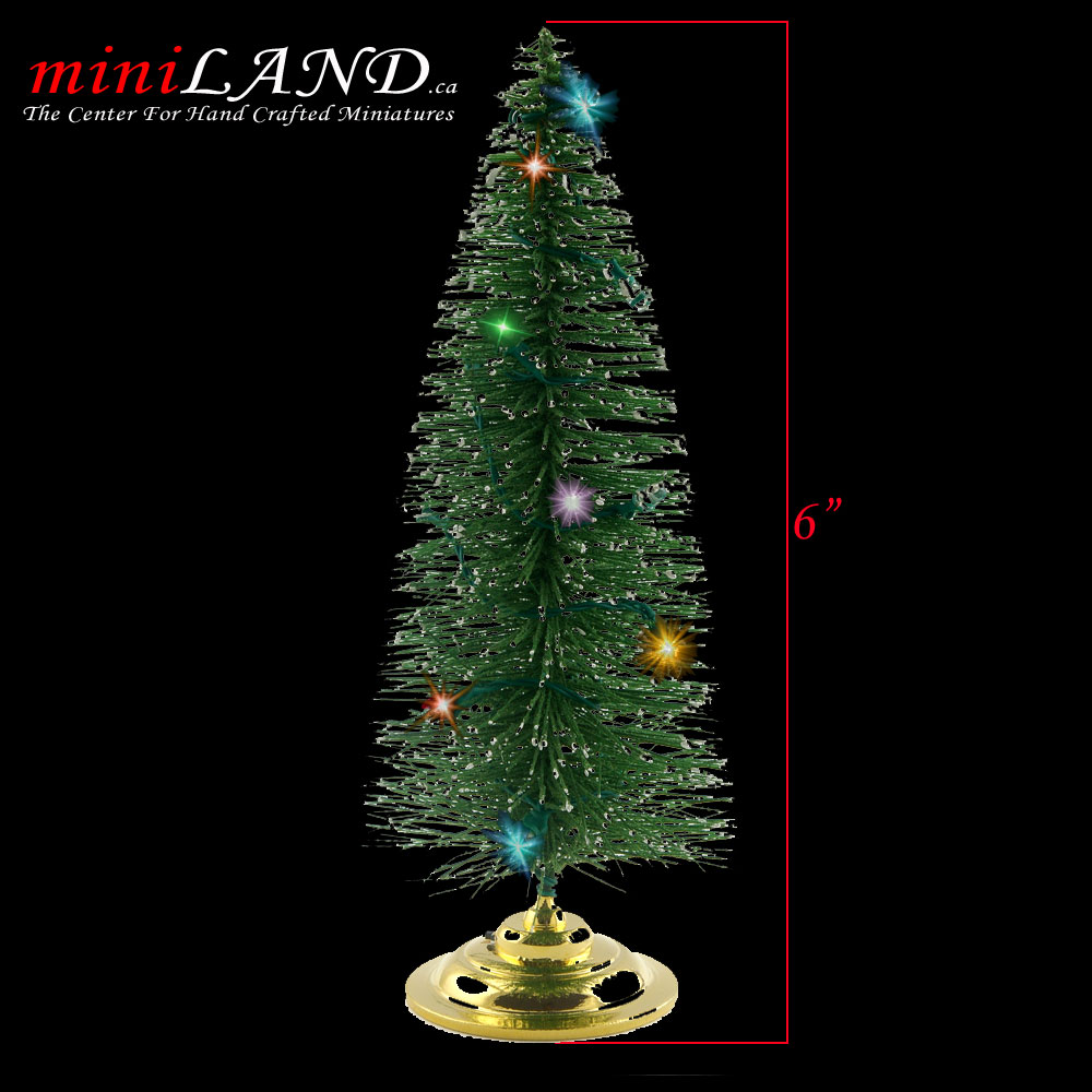 Christmas tree with changing LED color lights 1:12 scale dollhouse ...