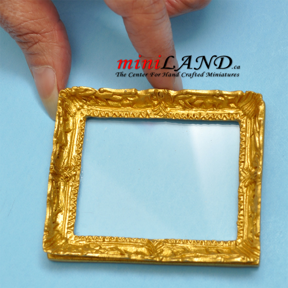Dolls House Miniature 1.12 Scale 6 Assorted Golden Picture Frames