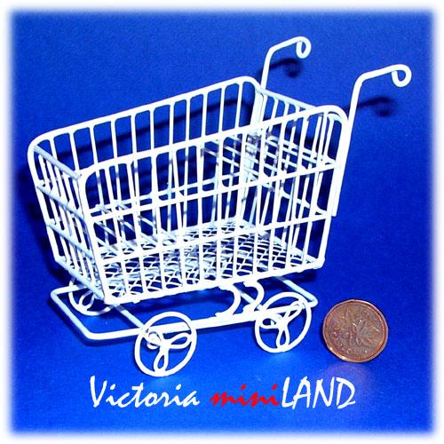 Dollhouse Miniature White Metal Store Shopping Cart EIWF173