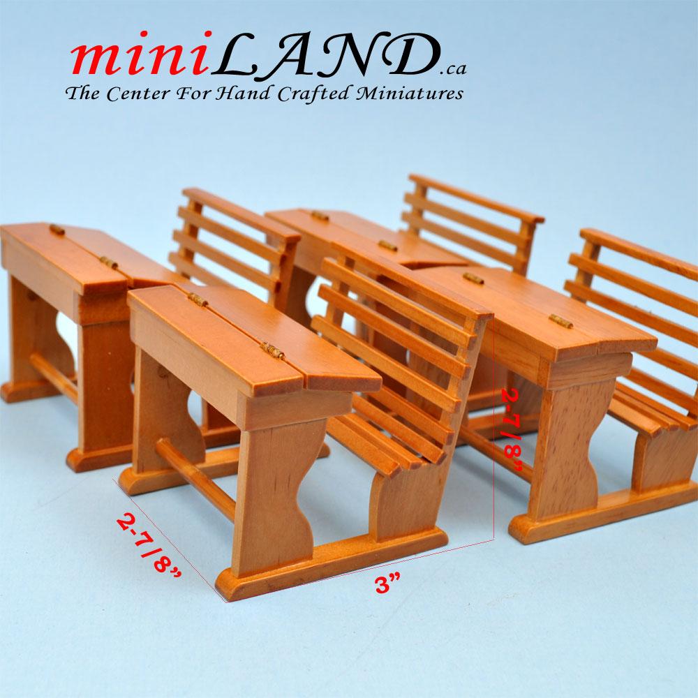 Old time school desk set of 4 for 1:12 dollhouse miniatures OAK