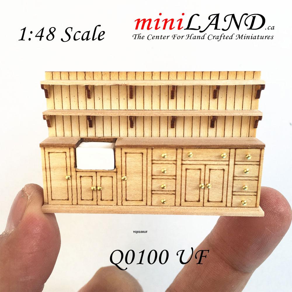 1 48 1 4 Quot Quarter Scale Kitchen Unit With Shelves Unfinished