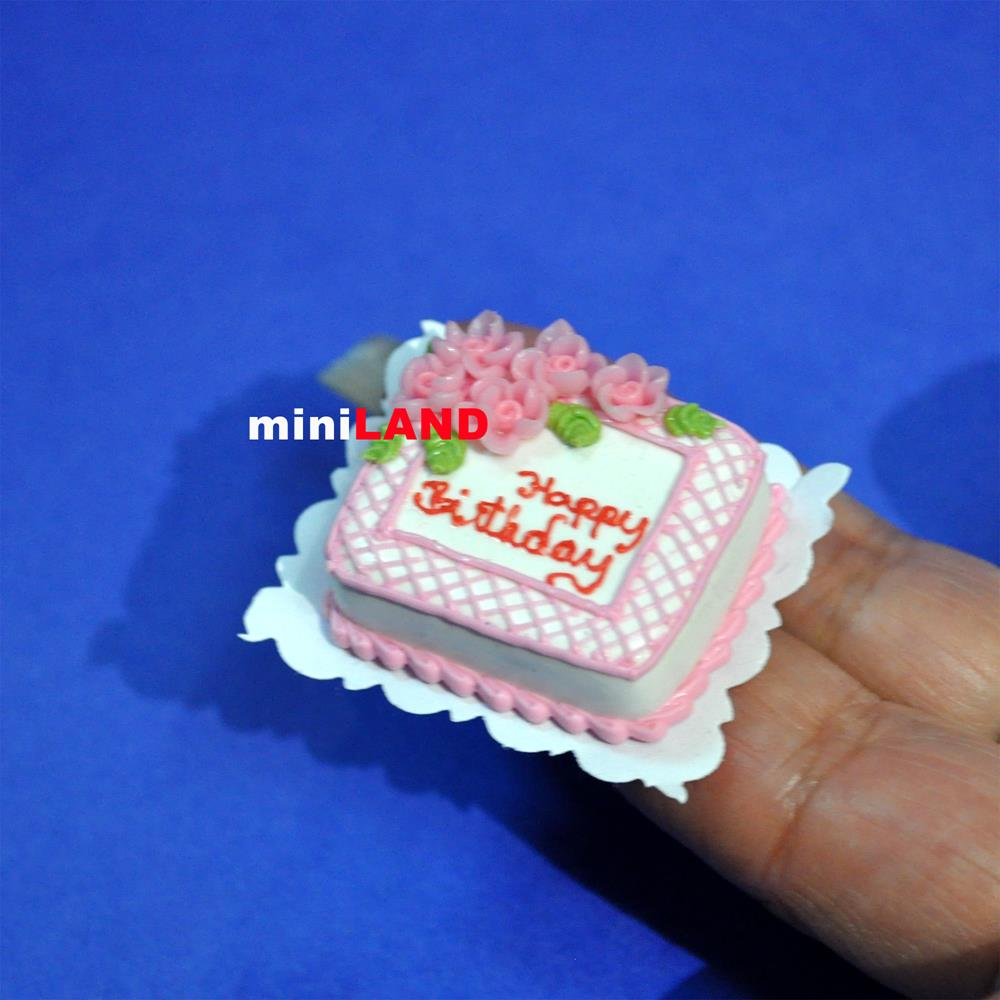 Happy Birthday Cake 1 12 Dollhouse Miniature Handmade Bakery Food Stc15