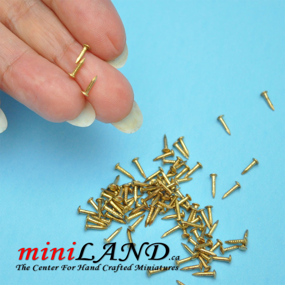 Brass Nails 4mm 100 Pack Dolls House Miniatures 1.12 Scale DIY