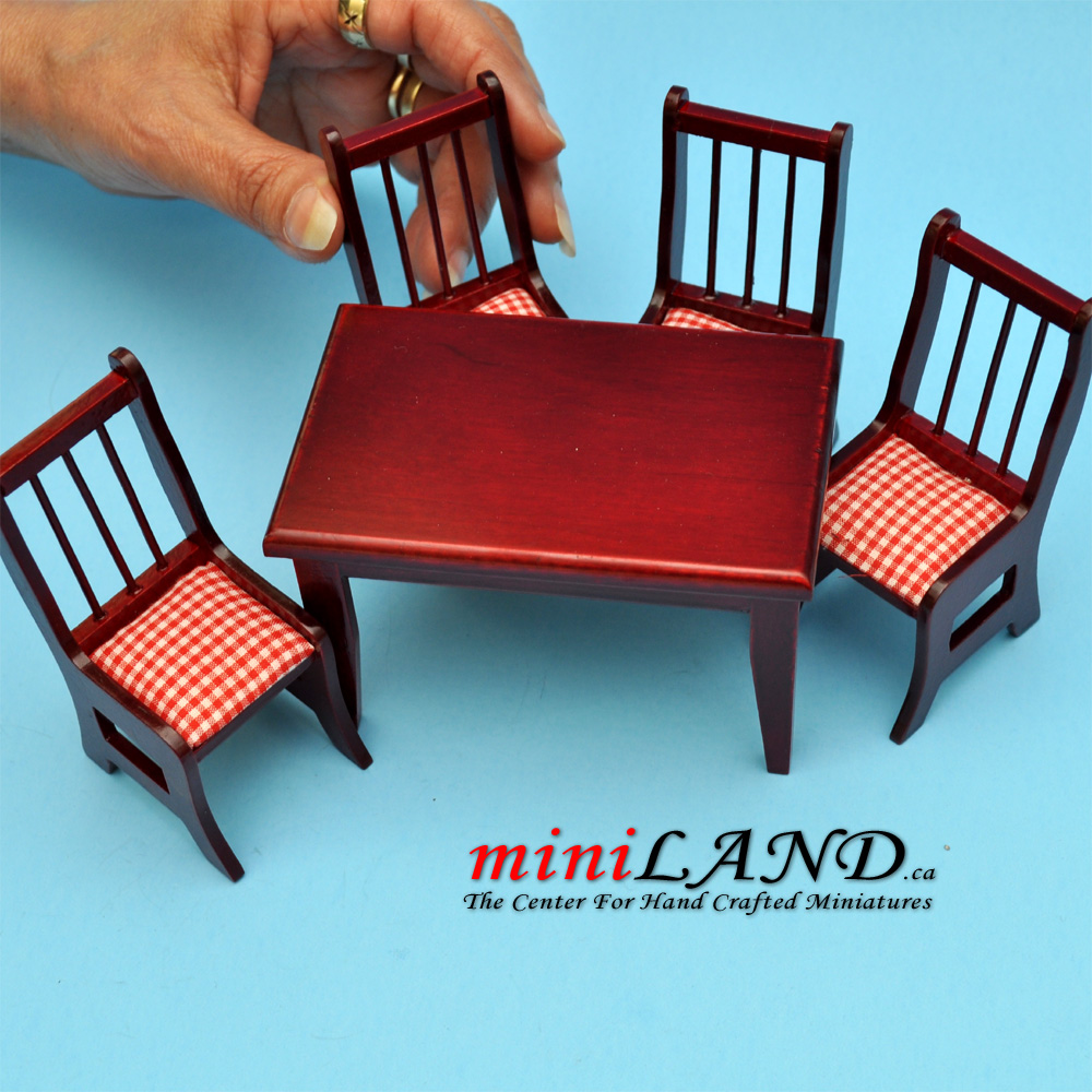 5 Pcs Kitchen Table With Chairs MH Dollhouse Miniature 1:12