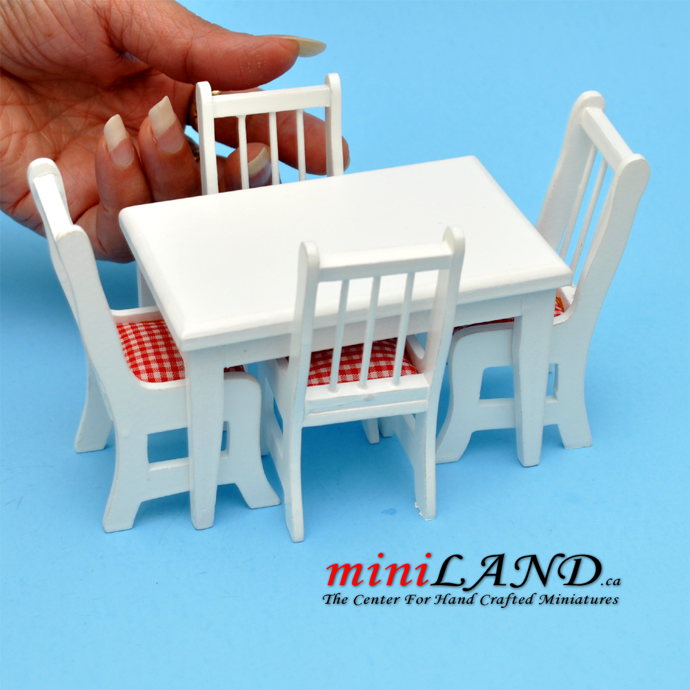 5 pcs Kitchen table with chairs white dollhouse miniature 1:12
