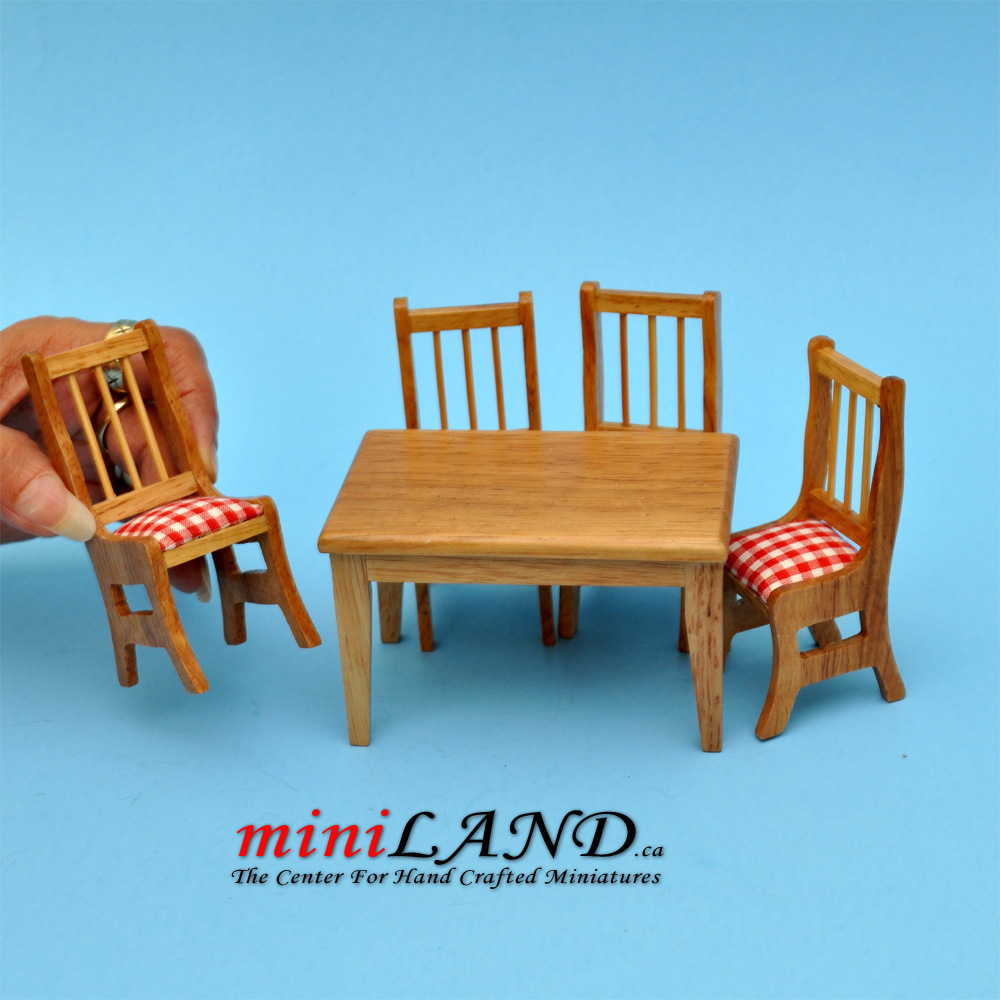 5 pcs Kitchen table with chairs oak dollhouse miniature 1:12