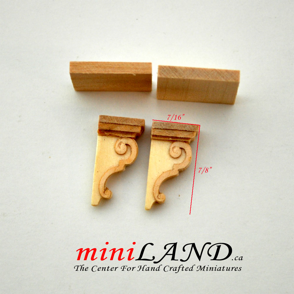 Carved wooden corbels brackets with small shelves 2pcs for 1:12 dollhouse  miniatures DIY