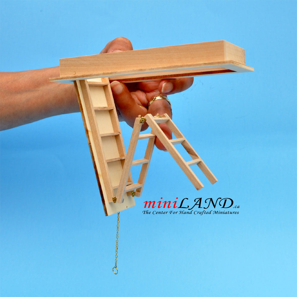 Attic Folding Ladder Stairs Dollhouse Miniatures For 8 10 Ceiling