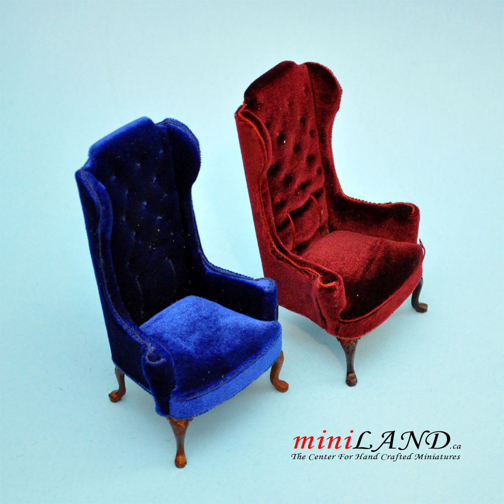 Surprising Luxurious Elegant Quality Tall Wingback Chair Royal Red Velvet For Dollhouse Miniature 1 12 Scale Theyellowbook Wood Chair Design Ideas Theyellowbookinfo