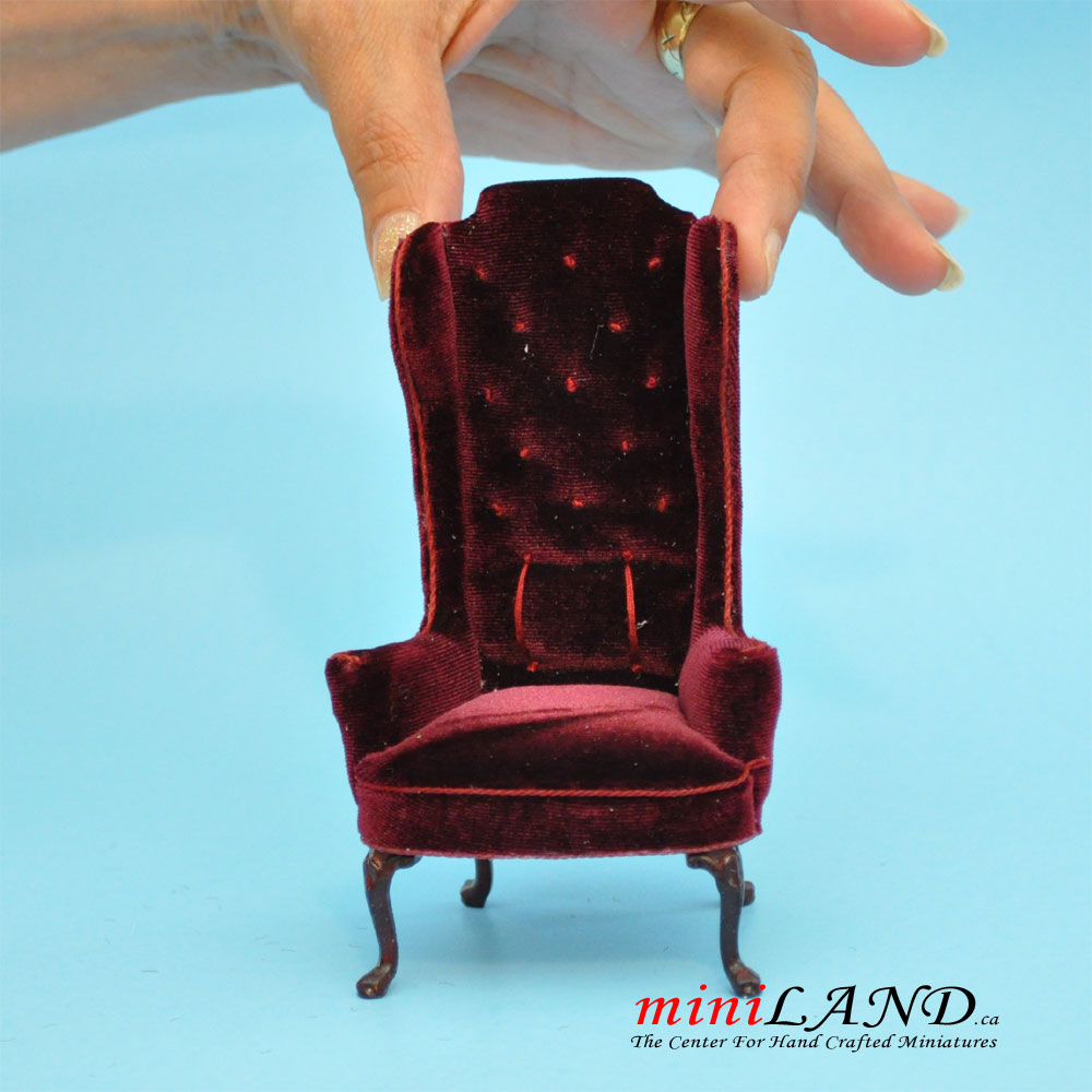 Fabulous Luxurious Elegant Quality Tall Wingback Chair Royal Red Velvet For Dollhouse Miniature 1 12 Scale Theyellowbook Wood Chair Design Ideas Theyellowbookinfo
