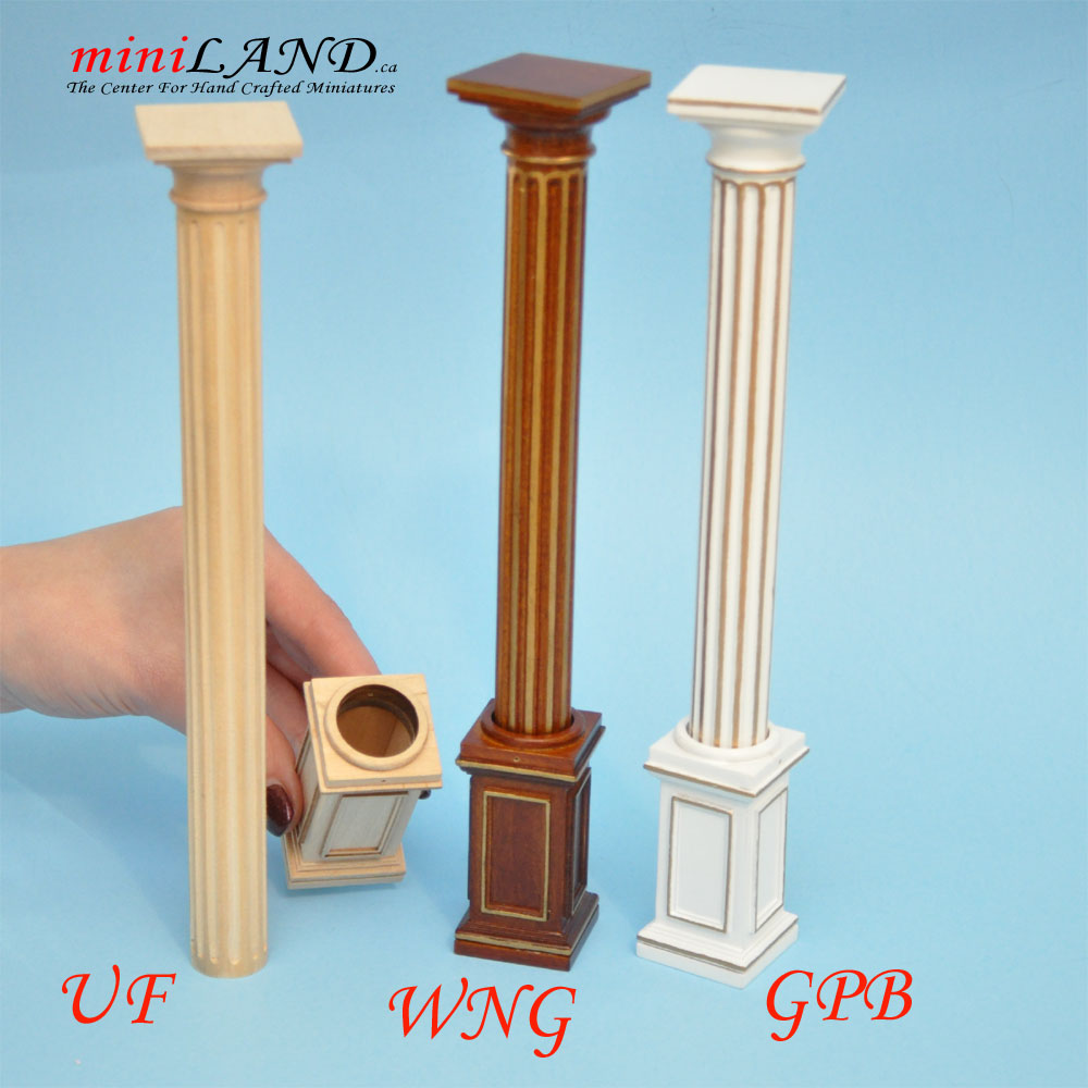 "Half Round column 4/""-10/"" telescopic wood 1:12 dollhouse miniature WALNUT 4053WNG"