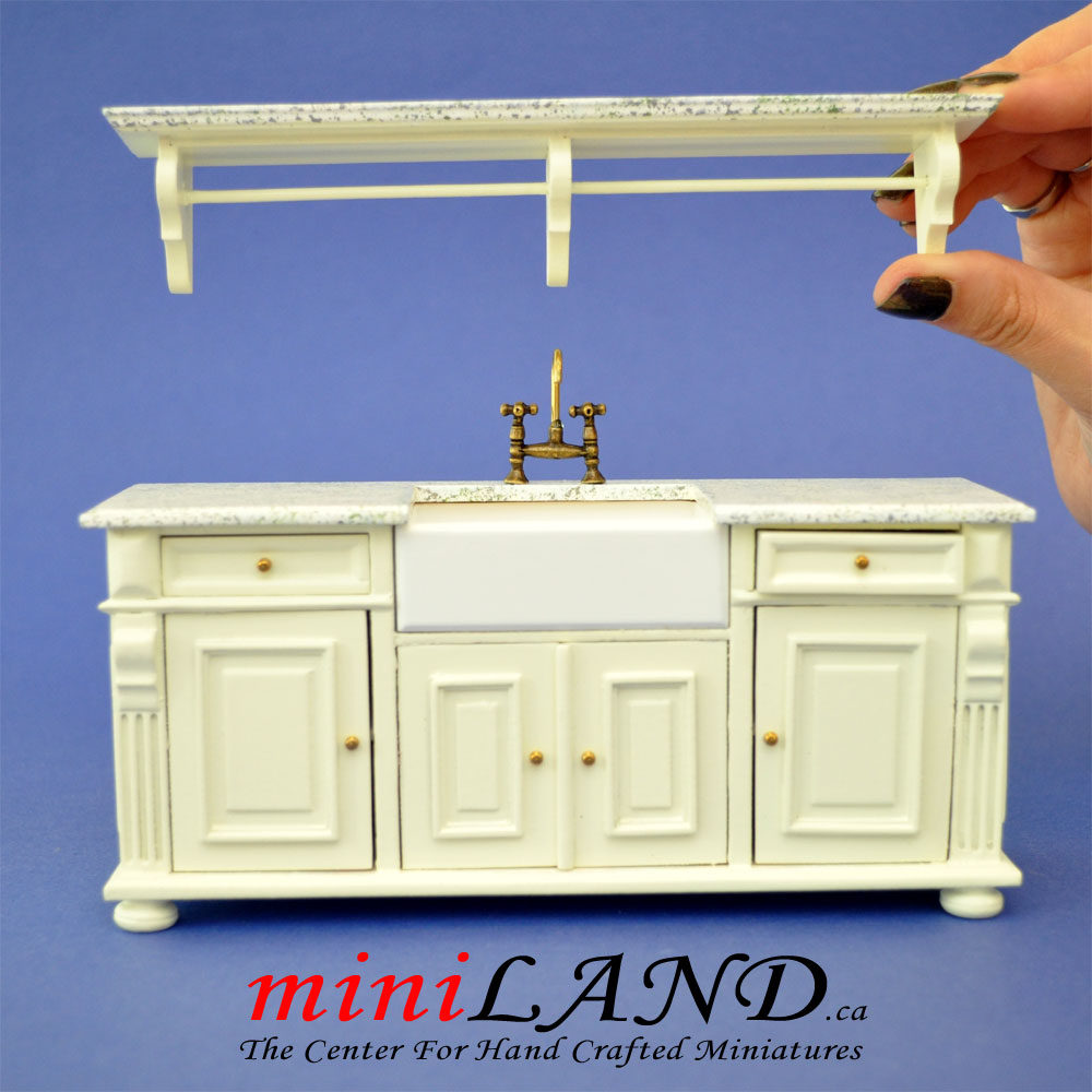 Antique White Victorian Quality Kitchen Sink Unit Counter With Shelf