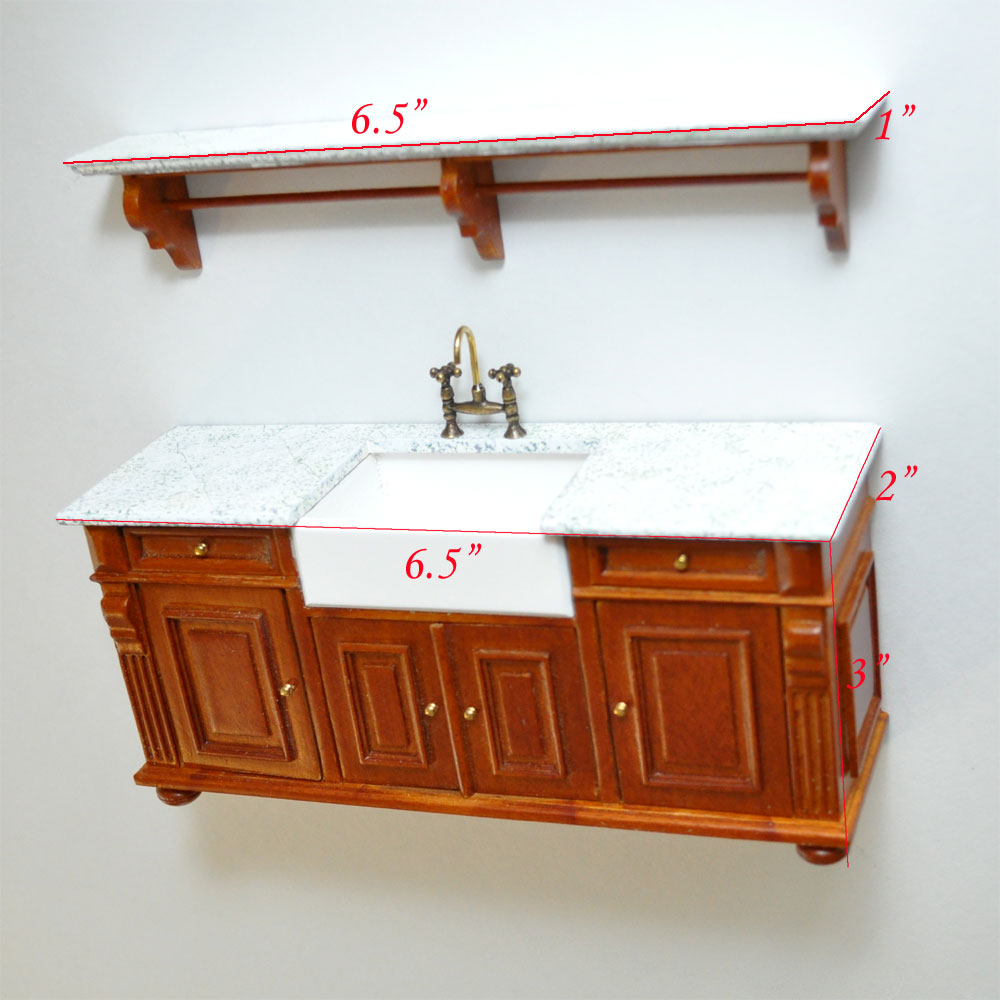 Edwardian Kitchen Sink: Victorian Quality Kitchen Sink Unit Counter With Shelf