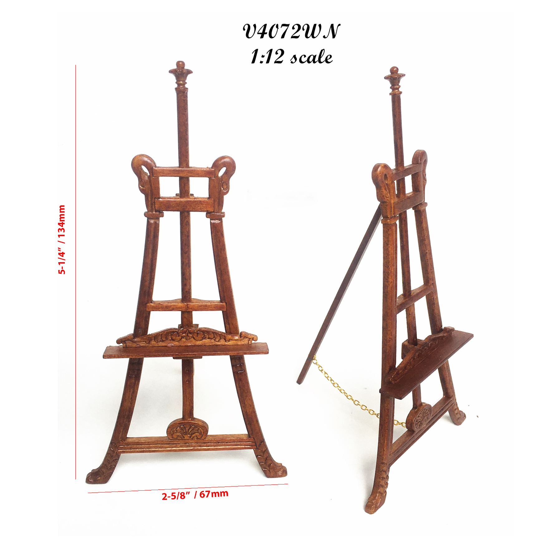 French wooden Walnut paintings stand SWAN-CARVED ADJUSTABLE EASEL 1:12 dollhouse