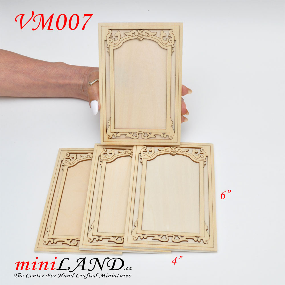 Large Carved wooden wainscoting panels 4pcs for 1:6 or 1:4 dollhouse  miniatures DIY UF VM007UF
