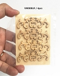 Large Wood Carved flowers Onlay Applique Unpainted 4pc for 1:6 or 1:4 dollhouse miniatures VM008UF