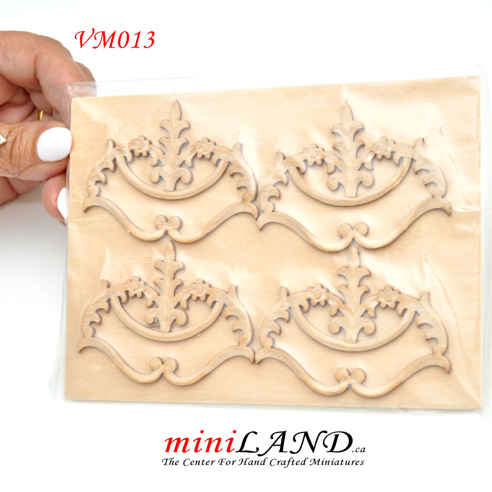 Large Wood Carved flowers Onlay Applique Unpainted 4pc for 1:6 or 1:4  dollhouse miniatures VM013UF