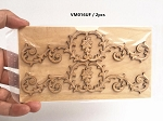 Large Wood Carved flowers Onlay Applique Unpainted 2pc for 1:6 or 1:4 dollhouse miniatures VM016UF
