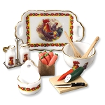 1.499/8 Rooster Design Kitchen Accessory Set Reutter Porzellan Dollhouse miniature 1:12