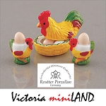 1.492/8 Egg Chicken Set Reutter Porzellan Dollhouse miniature 1:12