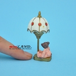 Side table lamp dollhouse miniature 1:12 scale nonworking bear