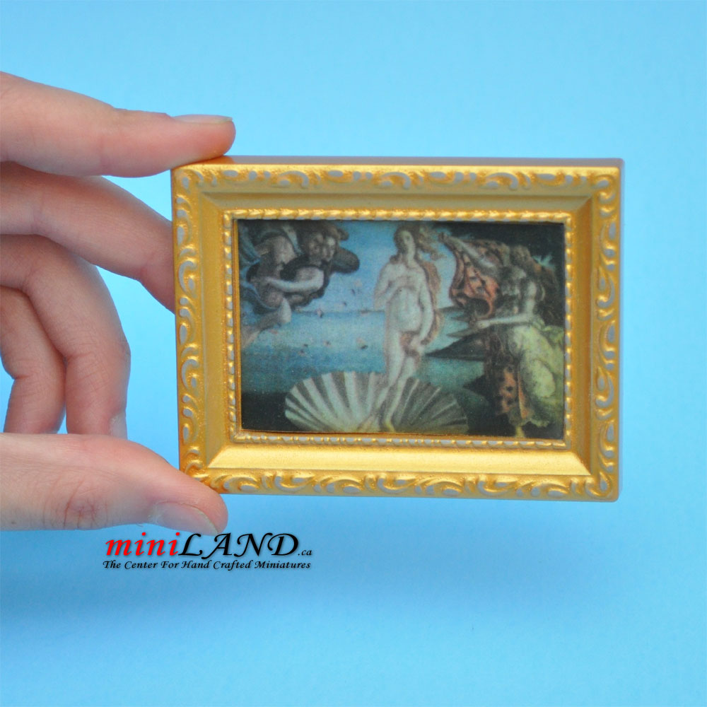 Picture Painting In Gold Frame Dollhouse Miniature 1 12 Scale