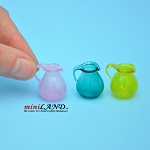 Glass pitchers set/3 for dollhouse miniature blue pink yellow 1:12 scale