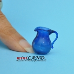 Glass pitcher for dollhouse miniature blue