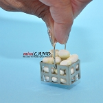 White eggs in metal basket dollhouse miniature 1:12 scale