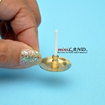 Victorian handheld candle on thin gold plate dollhouse miniature 1:12 scale