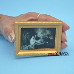 Old time painting in gold frame dollhouse miniature 1:12 scale