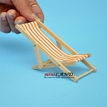 Orange striped lawn folding chair dollhouse miniature 1:12 scale