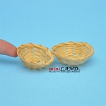 Wicker Baskets for bread or vegetables dollhouse miniature 2pcs