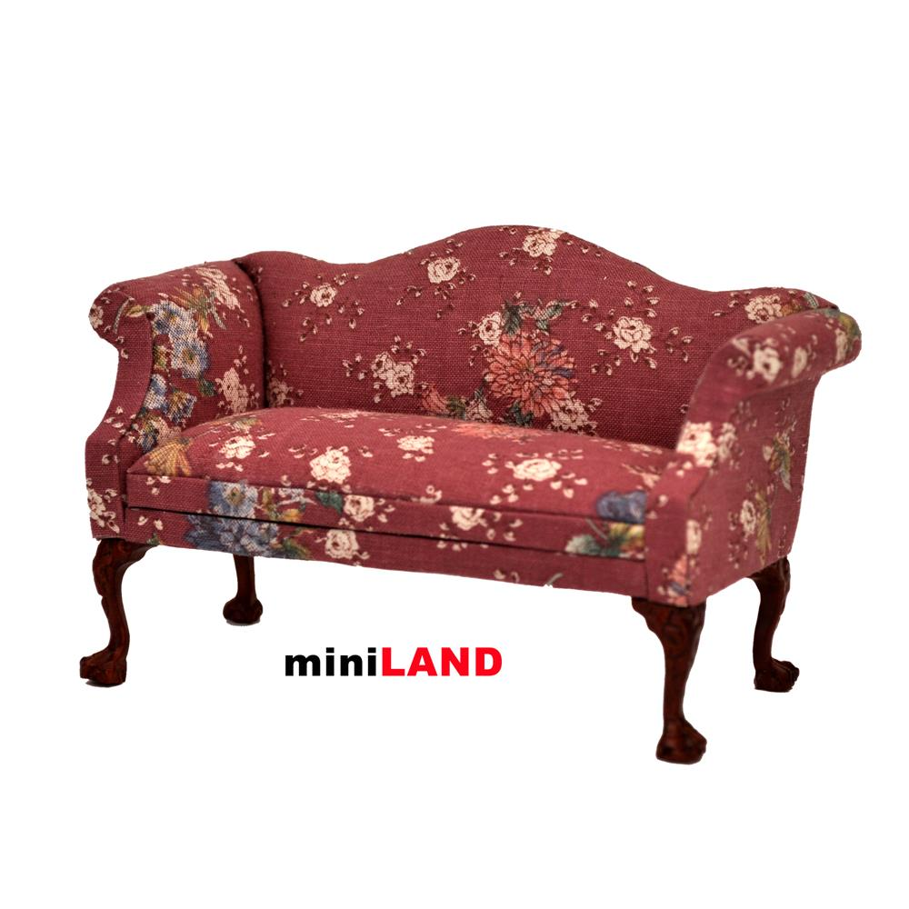 Queen Anne Love Seat Sofa For 1:12 Scale Dollhouse