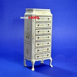Eight-drawer collectible Cabinet for 1:12 Scale dollhouse miniature Hand painted