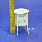 Drum Table / Bedstand Dollhouse miniature 1:12 white + hand-painted
