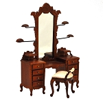 Fine Quality Dresser with hats stands ans stool walnut 1:12 scale