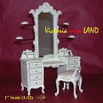 Fine Quality Dresser with hats stands ans stool white 1:12 scale