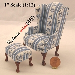 Queen Anne Wingbacked Chair  2pcs for 1:12 Scale dollhouse miniature wood bl